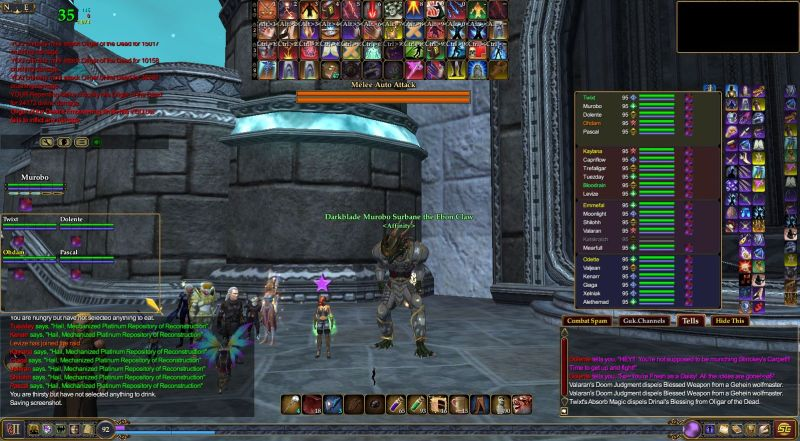 EQ2 screenshot during a pause in a raid
