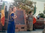 Jean Bruce Poole & Miriam Matthews, City Librarian, in El Pueblo in 1983 at the dedication for the plaque commemorating the original settlers of Los Angeles in 1781.