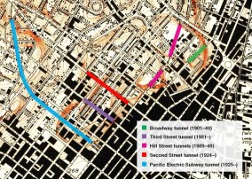 Map of Tunnels in Dowtown Los Angeles from mid 1930s