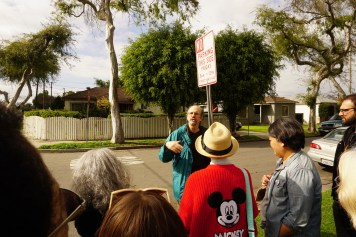 Author, Brad Schreiber, at a location his bus tour, 48 Hours In South LA.