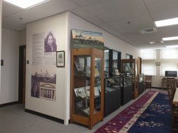 """""""Revisiting Visionary Utopia: Katherine Tingley's Lomaland, 1898-1942,"""" including introductory wall panel and additional original items on Katherine Tingley and Theosophy, with exhibit cases displaying archival materials on the Raja-Yoga School, theatre and drama at Lomaland, and the works of Lomaland artist Leonard Lester."""