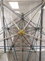 """Greater Maze"" Construction L. Gordon Plummer (1904-1999) Mixed media, approximately 20""H x 20"" x 23.5"" Collection of the San Diego History Center, Gift of L. Gordon Plummer Polyhedron construction used in lecture on Divine Geometry by the donor"