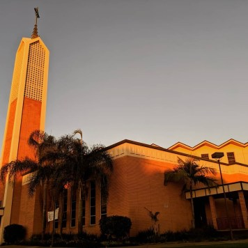 St. Columban Catholic Church catches virtual fire in Garden Grove at the golden hour.