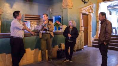 Kim & Richard meet with owner and manager of the Aztec Hotel. Spring 2017