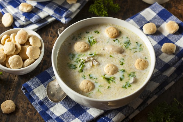 Oyster Soup with Parsley and Oyster Crackers