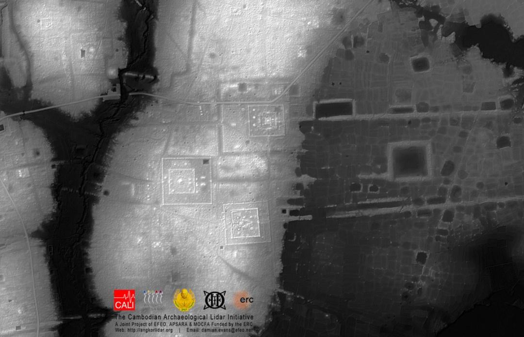 Mapa del terreno alrededor del monumento Prei Kuk en el parque arqueológico de Angkor