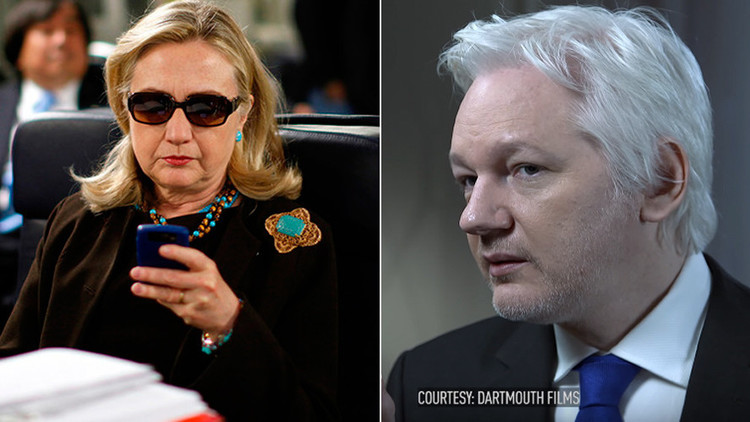 La candidata demócrata a la Casa Blanca, Hillary Clinton, y el fundador de WikiLeaks, Julian Assange.