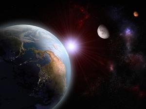 earth moon mars in space
