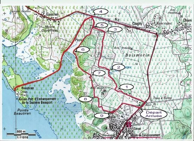 Carte du parcours, sentier de Beautiran