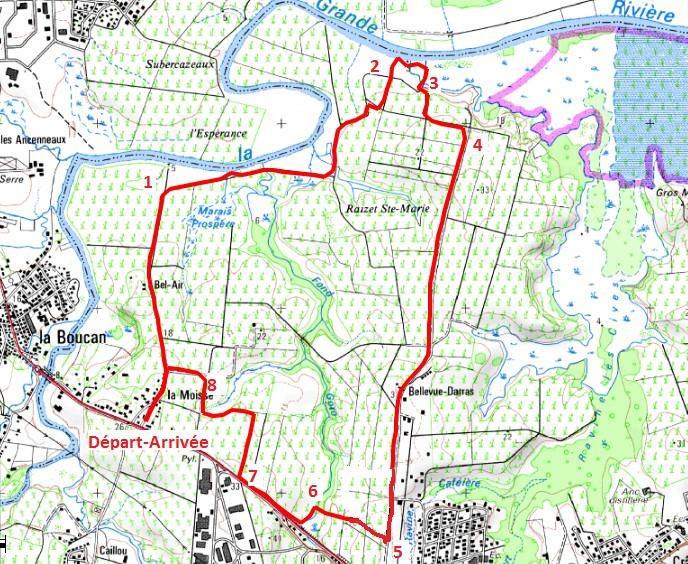 Carte du parcours permettant de préparer la randonnée