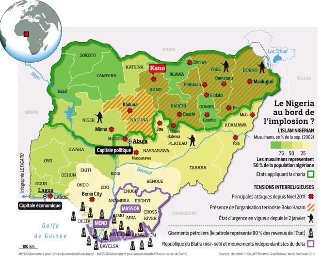 Mapa sobre el conflicto en Nigeria