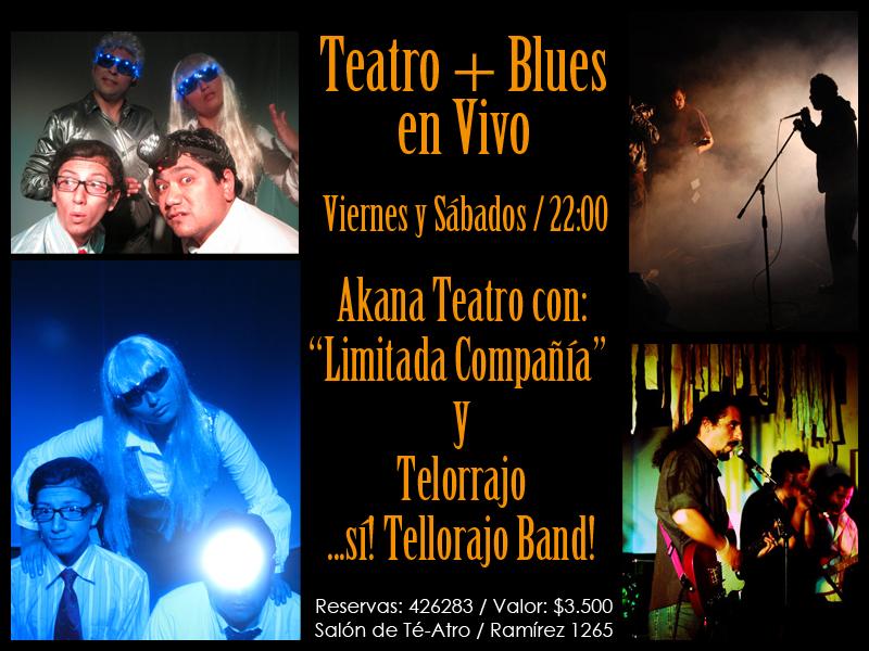 Teatro + Blues en Vivo – Viernes 11 y Sábado 12 en el Salón de Té-Atro