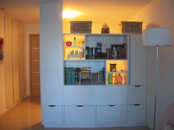 mueble divisor de ambientes con placard y biblioteca