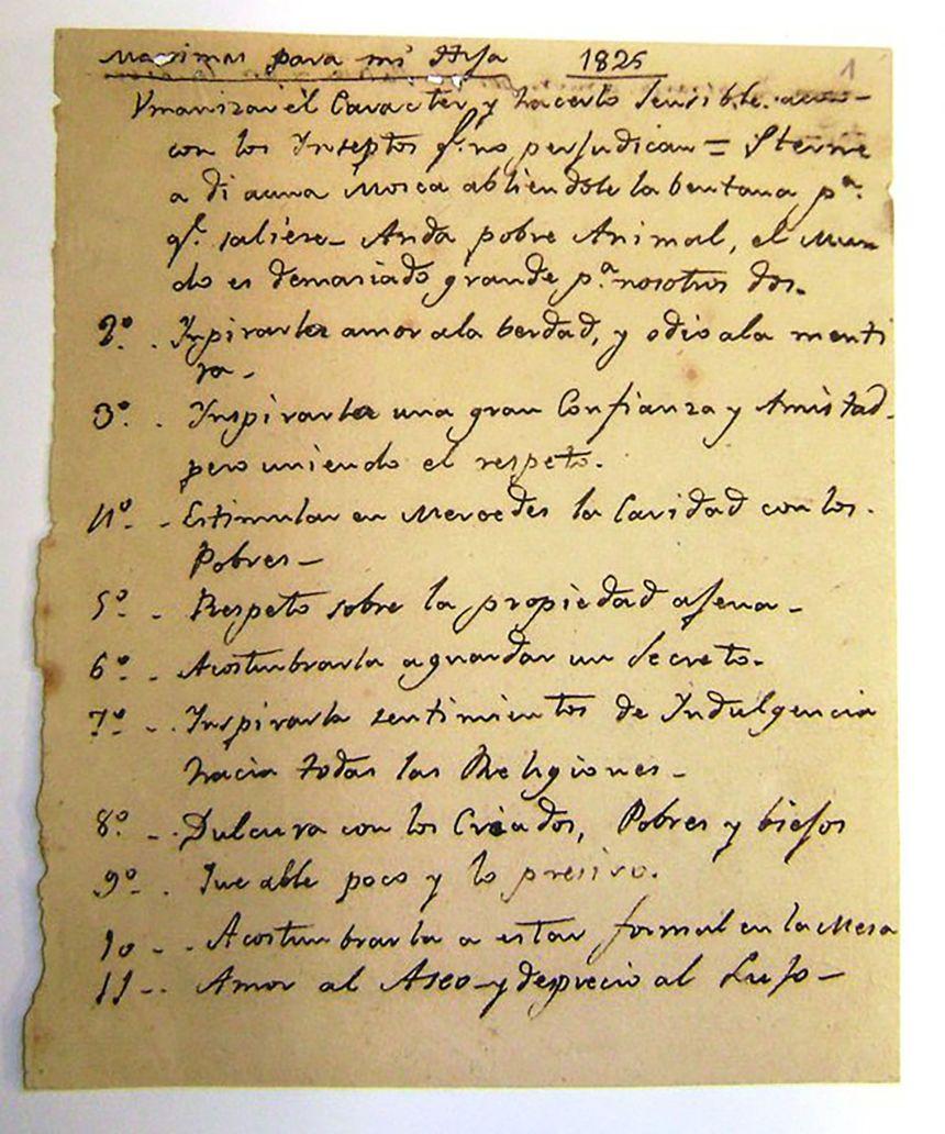 maximas de san martin a merceditas manuscrito
