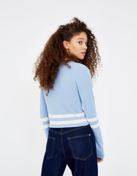 Sweater cropped às riscas 12,99€ Pull&Bear