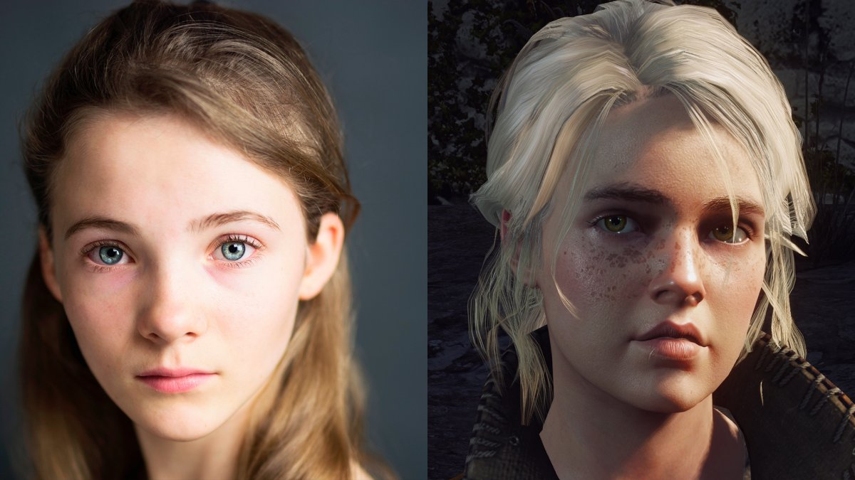 Freya Allen e Ciri no jogo The Witcher 3: Wild Hunt