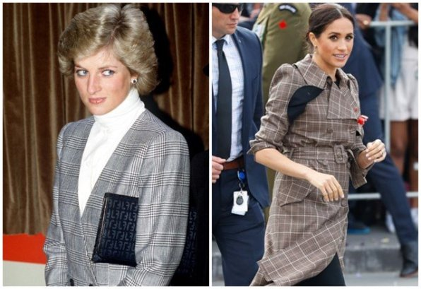 Princesa Diana num casaco com padrão em 1988; Meghan em 2019