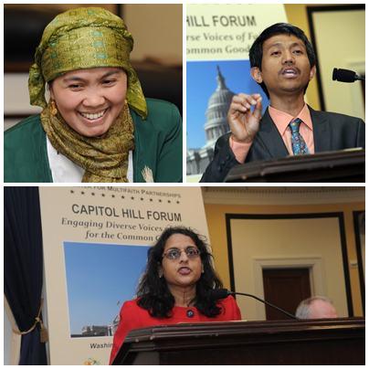 Arriba, Izquierda: Vicepresidenta de NU Norteamérica, Dra. Etin Anwar; Arriba, Derecha: Dr. Shalahudin Kafrawi, Presidente de NU Norteamerica; Abajo: Sra. Anju Bhargava, Fundadora y Directora Ejecutiva de las Comunidades HinduAmericanas Seva.