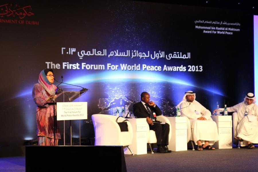 Discurso de la distinguida Tan Sri Zaleha, Presidenta de FPG Malasia, en el Foro de los Premio a la Paz Mundial.