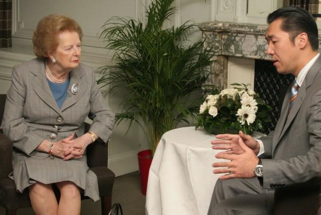 Ex-Primera Ministra Margaret Thatcher y el Dr. Hyun Jin Moon se encontraron en el 2008 después de una Conferencia de Liderazgo para la Paz Global en Londres.