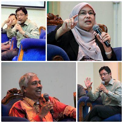 Ponentes del foro en dirección de las manecillas del reloj desde la superior izquierda: Sr. Kamarul Bahrin Haron, Director Ejecutivo de Astro Awani; Prof. Datin Dra. Azizan Baharuddin, Diputada Directora General del Instituto Islámico Kefahaman de Malasia; el Escritor y Activista Edin Khoo; y el moderador del foro K. Puniamurthy de la Universidad de Malaya.