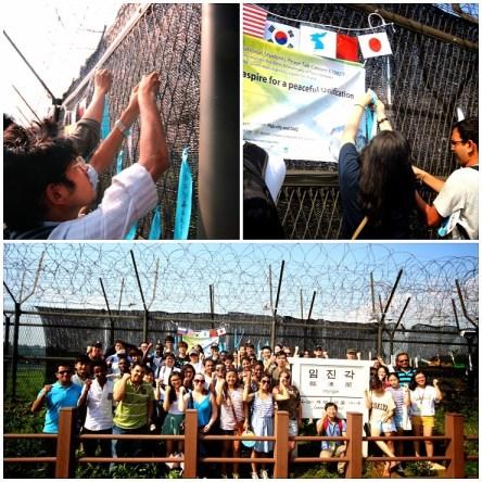 Estudiantes Coreanos e Internacionales amarran cintas azules de esperanza en el alambre de púas en Imjingak.