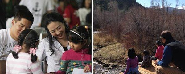 (Izq) Sra. Jun Sook Moon y su hijo como voluntarios en Corea del Sur. (Der) Dr. Moon y sus hijas admiran las grandezas de la naturaleza.