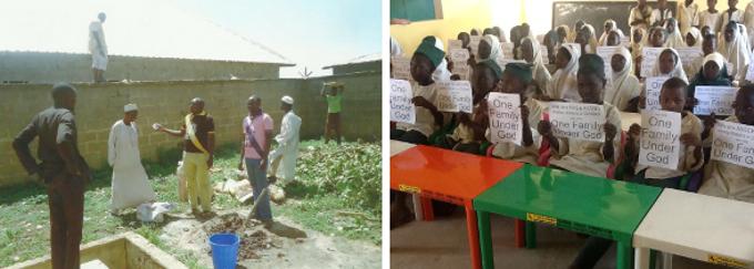 Los proyectos de la Campaña de Una Familia Bajo Dios (izquierda a derecha) mejorando la seguridad y los suelos de un hospital local. (Derecha) Donación de escritorios y sillas a la escuela local que educa a niños y niñas Musulmanes y Cristianos.
