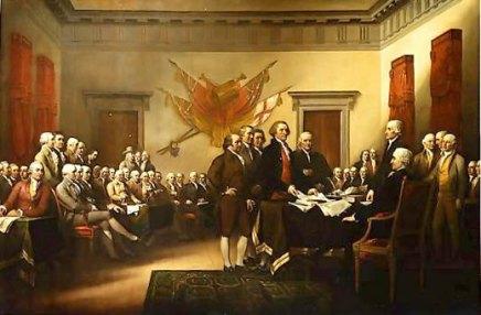 Pintura de John Trumbull de los cinco hombres del comité de redacción de la Declaración de Independencia presentando su trabajo al Congreso.