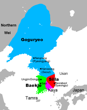 Mapa del Periodo de los Tres Reinos. Crédito: Chris 73