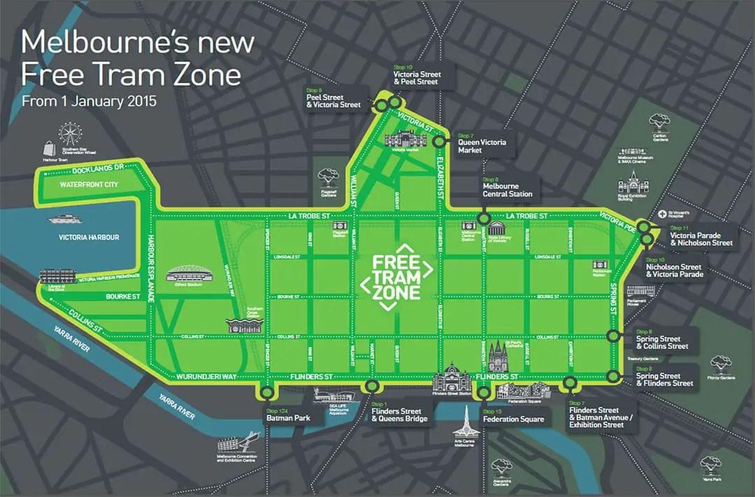 Free tram zone mapa melbourne zona gratis tranvia