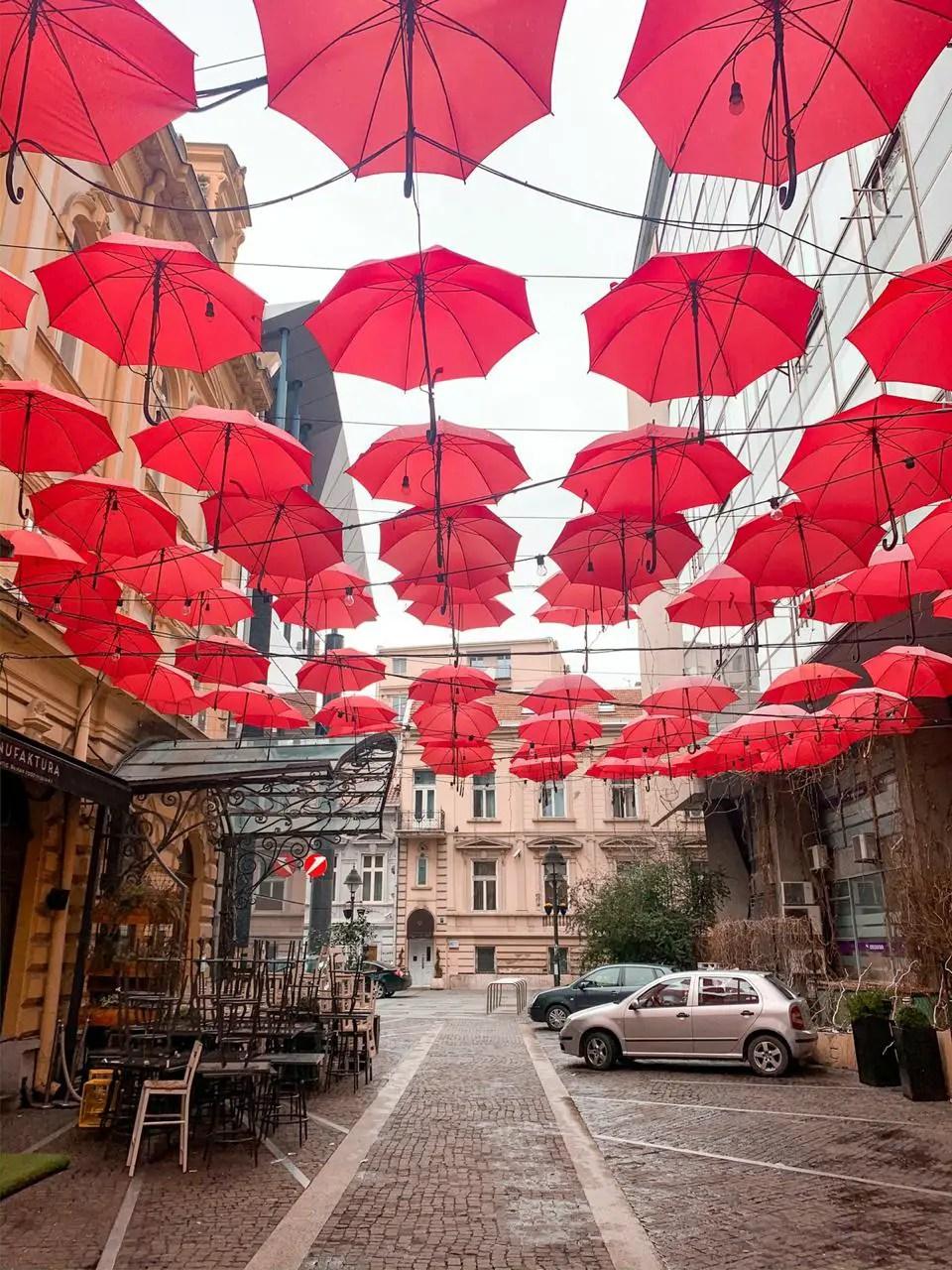 Techo de paraguas serbia belgrado paraguas rojos