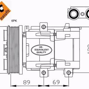 Compresor de Aire Acondicionado de FORD Fiesta-Focus-Fusión-Tourneo-Trasnsit-Connet-MAZDA 2= VISTEON SCROLL 90V