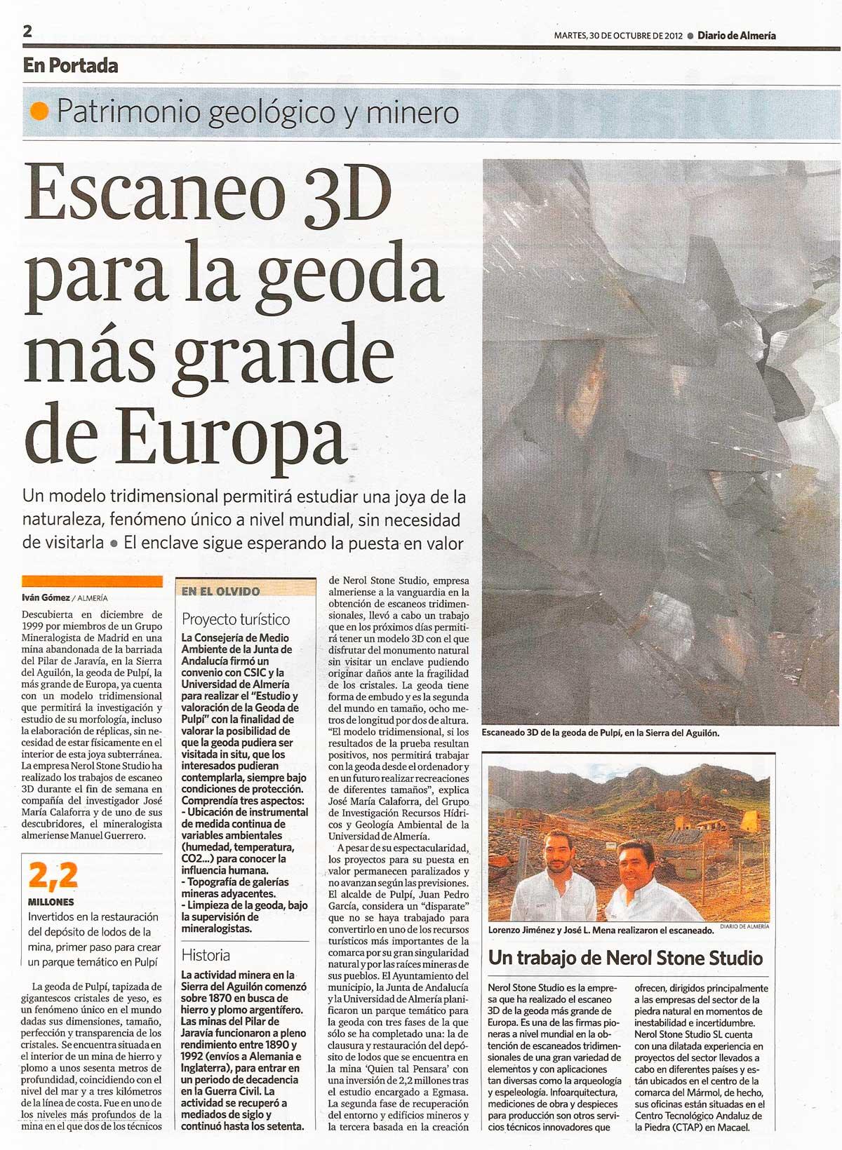 Diario de Almería, geoda de Pulpí