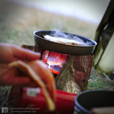 Creating dinner in the tent