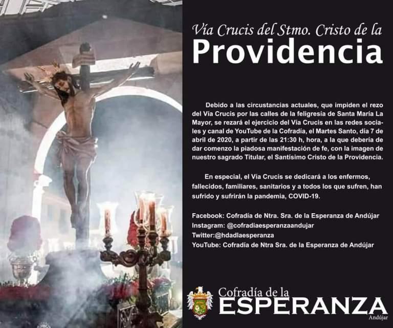 Anuncio de la emisión del Vía Crucis al Santísimo Cristo de la Providencia en nuestras plataformas