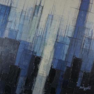 "BLUE CITY - acrylic & graphite on canvas - 50x50cm (20""x20"")"
