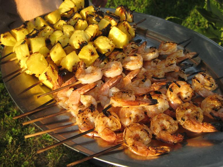 Grilled Chicken Drumsticks, Eggplant, Pineapple and Shrimp (1/4)