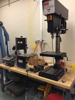Drill press, band saw and grinder