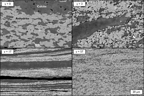 Calcite-anhydrite composites deformed in the LVT apparatus to investigate phase mixing. Read the paper here