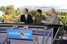 Chris McKendry, Darren Cahill, Roger Federer and Rod Laver - Australian Open - January 25, 2012