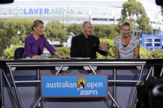 Chris McKendry, Brad Gilbert and Maria Sharapova - Australian Open - January 21, 2012