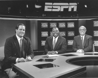 NFL GameDay - 1989.(L to R) Chris Berman, Tom Jackson, Pete Axthelm