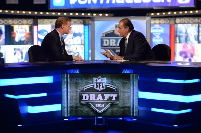 New York, NY - May 8, 2014 - Radio City Music Hall: Roger Goodell and Chris Berman during the 2014 NFL Draft (Photo by Allen Kee / ESPN Images)