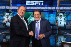 Bristol, CT - October 17, 2016 - DC2: Chris Berman and Joe Namath on the set of Monday Night Countdown (Photo by Allen Kee / ESPN Images)