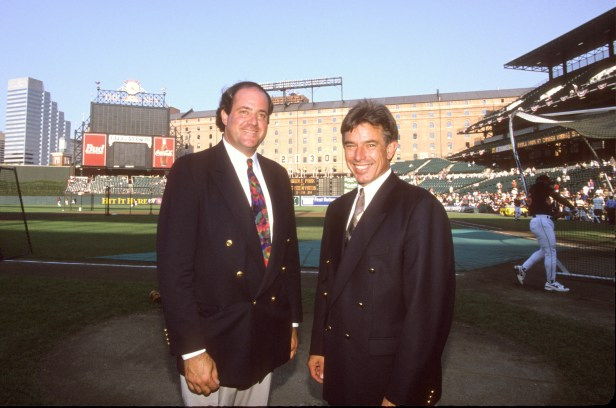 Baltimore, MD - September 6, 1995 - Oriole Park at Camden Yards: Chris Berman and Buck Martinez prior to Cal Ripken, Jr. surpassing Lou Gehrig's record of 2,130 consecutive games played (Photo by ESPN)