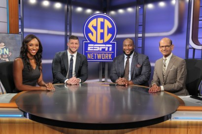 Charlotte, NC - August 17, 2016 - Frenette Building: Maria Taylor, Tim Tebow, Marcus Spears and Paul Finebaum on the set of SEC Nation (Photo by Travis Bell / ESPN Images)