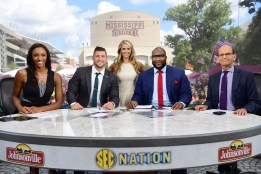 Starkville, MS - September 10, 2016 - Mississippi State University: Maria Taylor, Tim Tebow, Laura Rutledge, Marcus Spears and Paul Finebaum on the set of SEC Nation (Photo by Phil Ellsworth / ESPN Images)