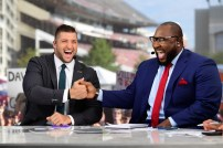 Starkville, MS - September 10, 2016 - Mississippi State University: Tim Tebow and Marcus Spears on the set of SEC Nation (Photo by Phil Ellsworth / ESPN Images)