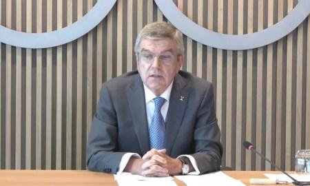 Thomas Bach realizou teleconferências nesta quarta-feira (Créditos: Reprodução/Youtube @IOC Media)